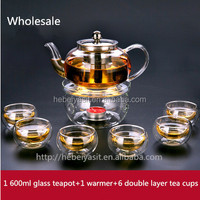 chinese 600ml glass tea pot with infuser with 1 warmmer with 6 tea cups set