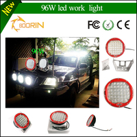 Top Sale Black/ Red automobile 4x4 accessories 4wd offroad 9 inch 96w round led working light led driving lights work light led