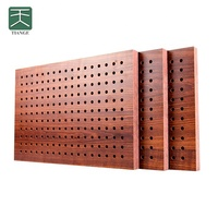 TianGe Factory Sound Insulation Ceiling Materials Fireproof Perforated Wooden Wood Acoustic Panels for Ceiling Tiles
