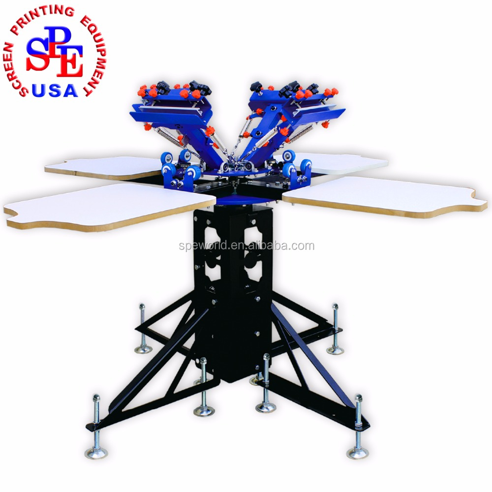 SPE442L four color four station Tshirt screen printing machine screen printing equipment