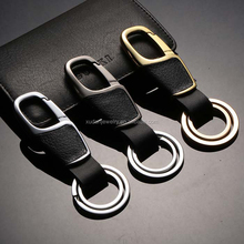 Leather Metal Keychain Luxury Car Key Chain Men Rings Gift Key Chains for Keys Black and Silver Ring