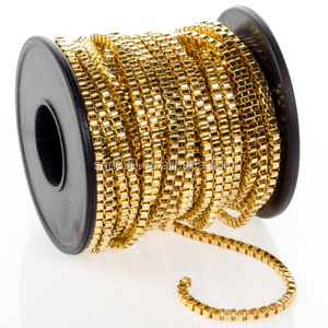 316L Stainless Steel Gold Plated Box Chain Spool, 2.5mm