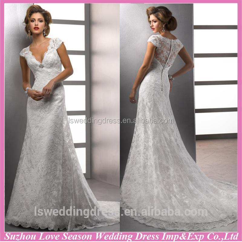 WD1265 A-line lace tulle floor length bridal gown sexy alibaba recommand for wholesales bridal dress buttons down the back