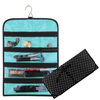 Polyester Jewelry Roll Bag, Purse Hanging Jewelry Organizer with Pocket Travel Cosmetics Bag,Black With White Dot