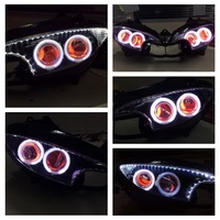 FAHYA005 Motorcycle LED Driving Lights Projector Headlight With Angel Eye For YZF R6 2003-2005