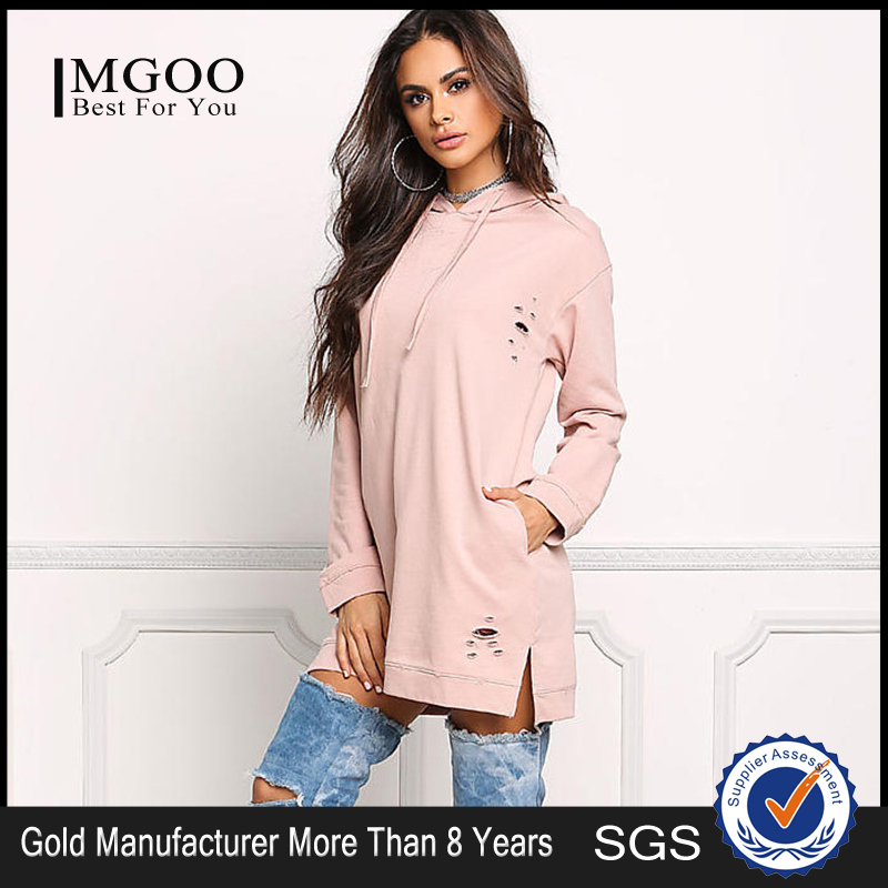 MGOO New Arrival 100 Cotton Hoodies French Terry 300g Longline Distressed Pink Hoodies With Pockets