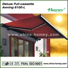 LED light motorized retractable awnings