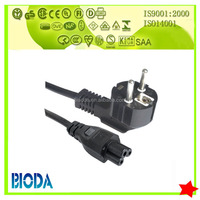VDE europ IEC C13 power cord with 4.8mm plug insert pin