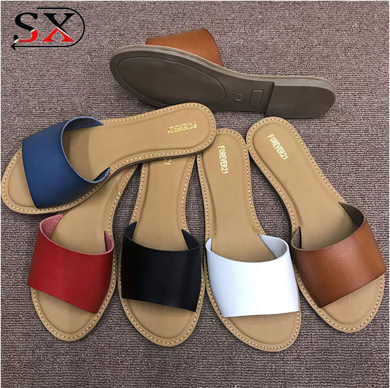 wholesale female summer custom leather slippers for women slippers antiskid ladies slippers and sandals