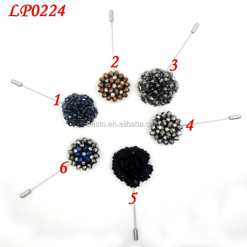 In stock low MOQ round shape men bead rhinestone lapel pin