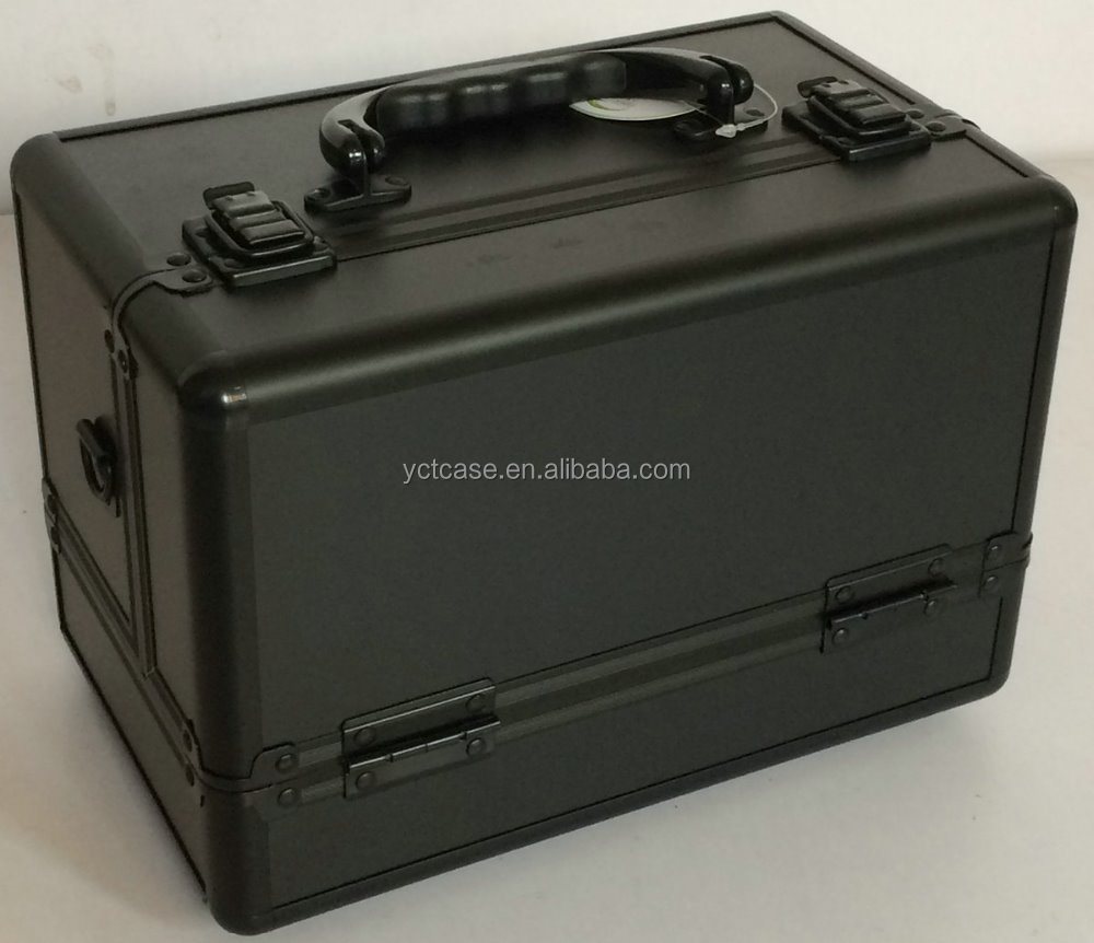 All Black Makeup Carrier Case Tool Case Hair Salon Cosmetic Case