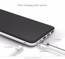 Wholesale high quality PU design built-in cable 2 in 1 function durable portable power bank