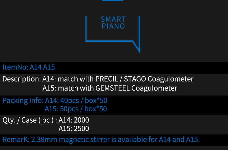 Match with PRECIL/STAGO Coagulometer and GEMSTEEL Coagulometer