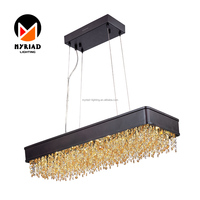 Rectangle Modern Chandelier Crystals Pendant Light