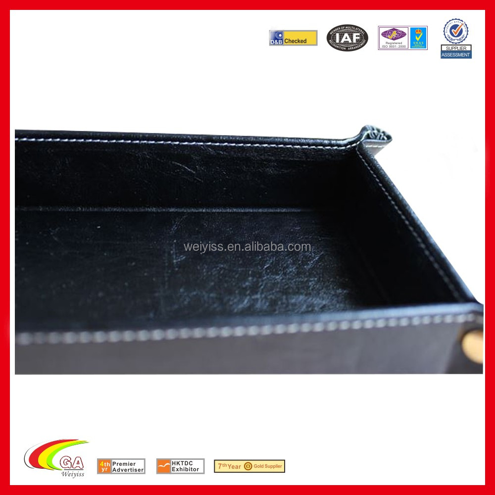 handmade square pu leather wedding decorative tray coin tray