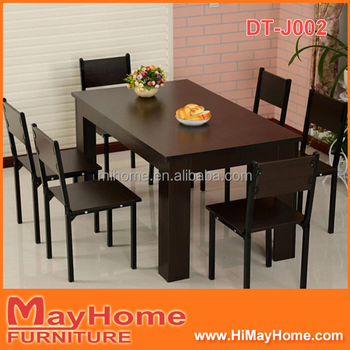 Wooden Walnut Color Black Dining Table