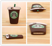 Hot sale newest design 3D Starbucks cup fashion style mobile phone accessory silicon case/shell/cover for iphone series