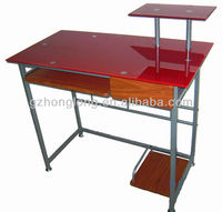 red glass computer desk