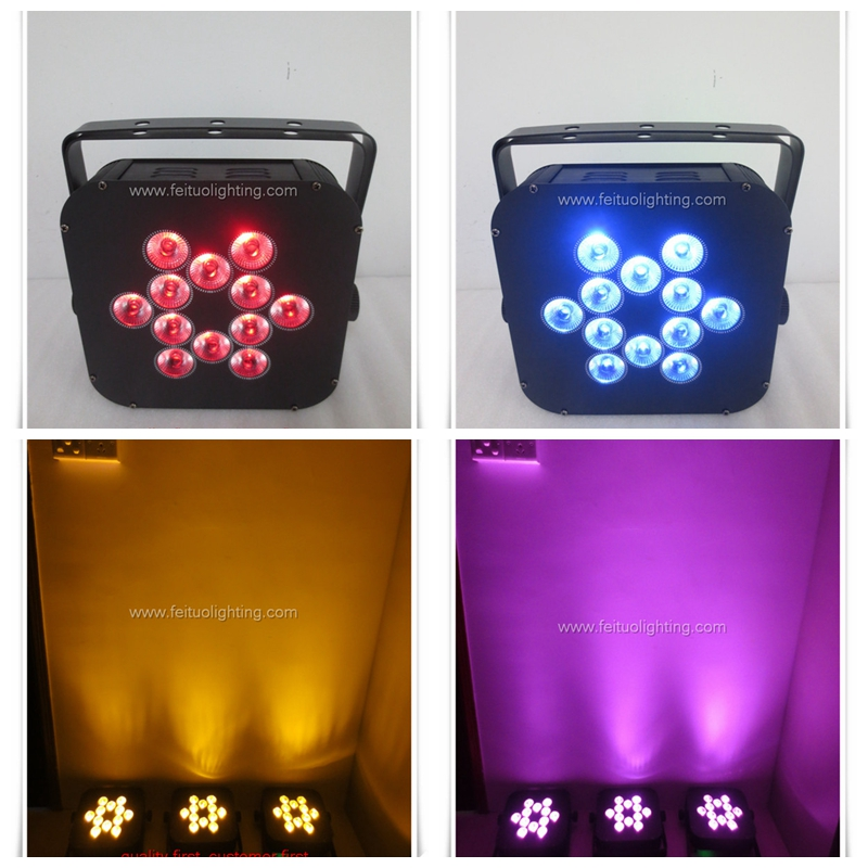 Nightclub led lighting 12x18w rgbaw uv pink 7in1 battery powered flat led par can wireless led uplighting