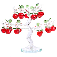 Artifical Clear K9 Red Crystal Glass Apple Tree with crystal ornament
