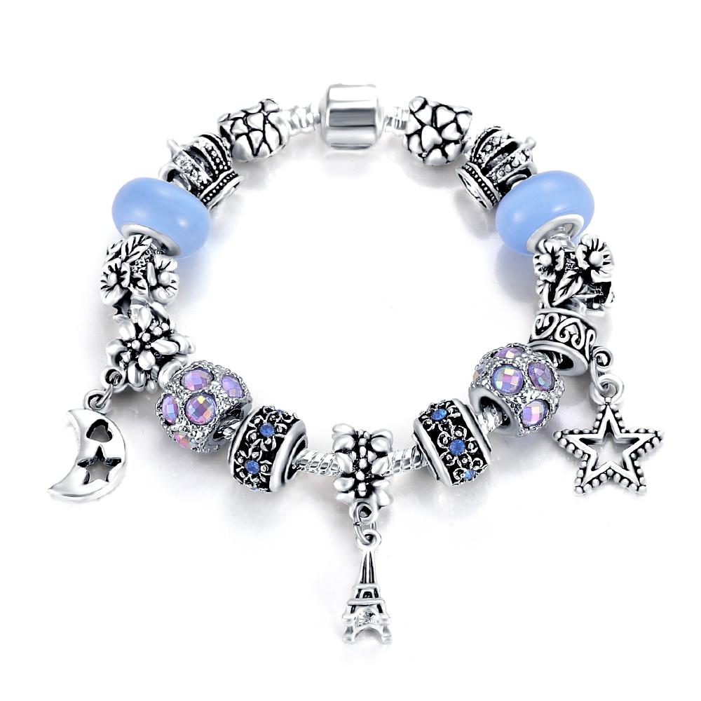 Lzeshine Antique Silver Paris Tower Charm Bracelets & Bangles For Women  With Blue Crystal Beads Bracelet