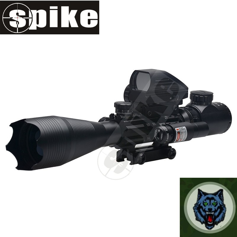 Spike Rifle Scope C4-16x50EG Dual Illuminated with Tactical 4 Reticle Red Dot Sight and Red Laser Sight, 3 in 1 Combo Scope