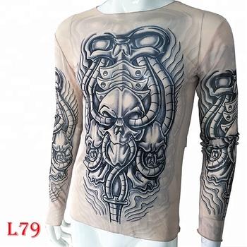 KaPin fashion tattoo 3d printing long sleeves wholesale printed t ...