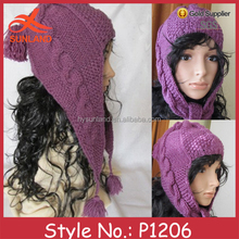 P1206 hot selling women warme crazy winter knitted hats with earflaps
