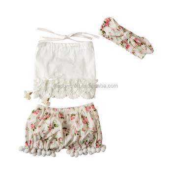 High Quality Baby Girls Clothes 2 Pieces Floral Pompom Outfits For toddler girls