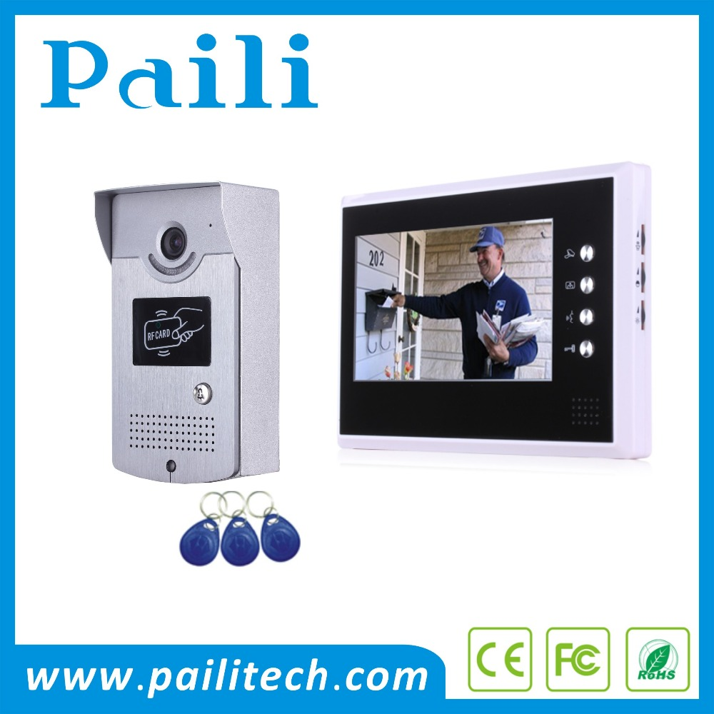 7inch RFID Access Control video door phone villa video intercom ring doorbell video