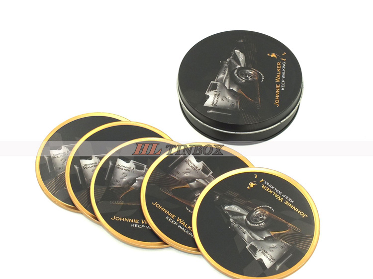 Eco-friendly Custom Metal Tin Coaster with Set of Tin Coaster