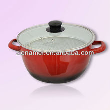 Red Enamel fry pot/Enamel Cookware