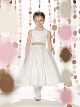 New Stylelish Sleeveless Lace Colour Combination Satin Tulle Cinderella Flower Girl Dress(FLMO-3005)