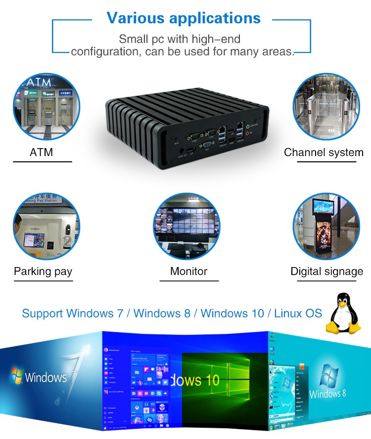IBOX-QM87 industrial embeded pc Haswell i3 i5 i7 mini pc RS232 linux system
