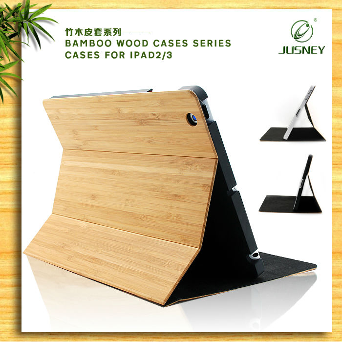 high quality nature bamboo tablet case accessory for Apple Ipad 3
