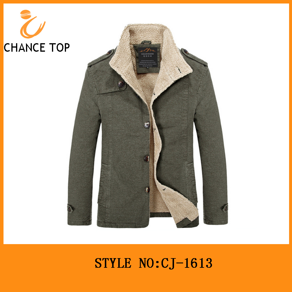 men's winter jacket stand lambswool collar double lining jacket