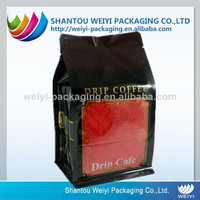 stand up plastic FDA safe coffee packaging flat bottom bags with custom printing