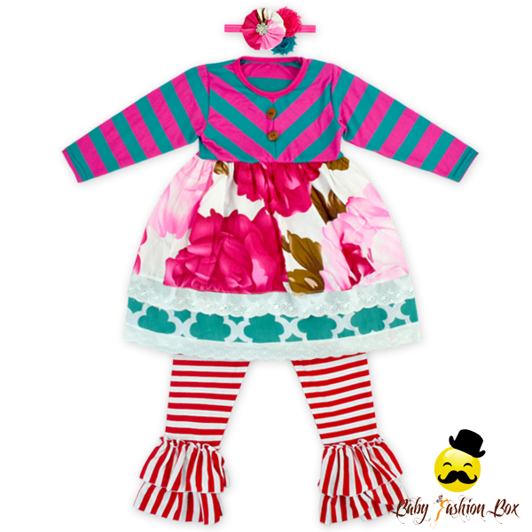 66TQZ241Yihong Hot Pink&Blue Floral Christmas Spring Outfit Children Autumn Clothes Boutique Brother Sister Outfit