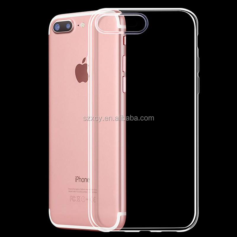 2017 luxury super slim crystal clear transparent soft TPU mobile phone case cover for iphone 7 7plus