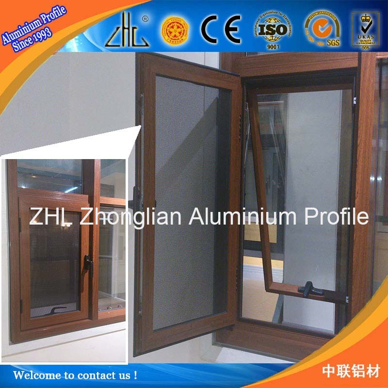 China top ten selling wood grain aluminium used windows and doors , profil aluminum doors and window with mosquito net