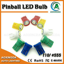white blue green red yellow wedge T10 #555 virtual pinball LED bulb