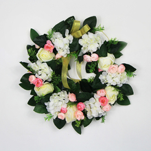 Indoor decoration fashion green leaf garland with artificial flowers