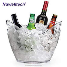 Clear Disposable Wine Standing Coolers Ice Buckets Promotion 8L Plastic Custom Outdoor Acrylic Wine Ice Bucket