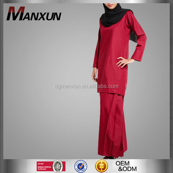solid red satin modern fashion baju kurung