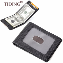 Top Quality Litchi Grain Leather Men Money Clip Wallet Black Women RFID Genuine Cowhide Leather Money Clip