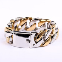 18K gold plated two tone bicolor heavy surgical 316L stainless steel bracelets cool bracelets for teen boys