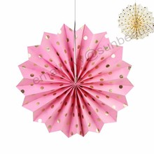 High Quality 16inch Hanging Paper Decorative Fan Bunting