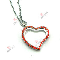 Living Memory Floating Heart Glass Locket Silver Pendant and Necklaces