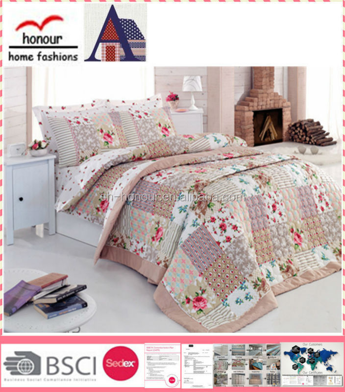 2015 Fancy blue simple pink flower patchwork designs Indian pattern bedding bedspread quilt sets