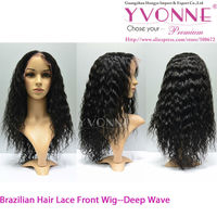 Brazilian remy human hair lace front wig,deep wave